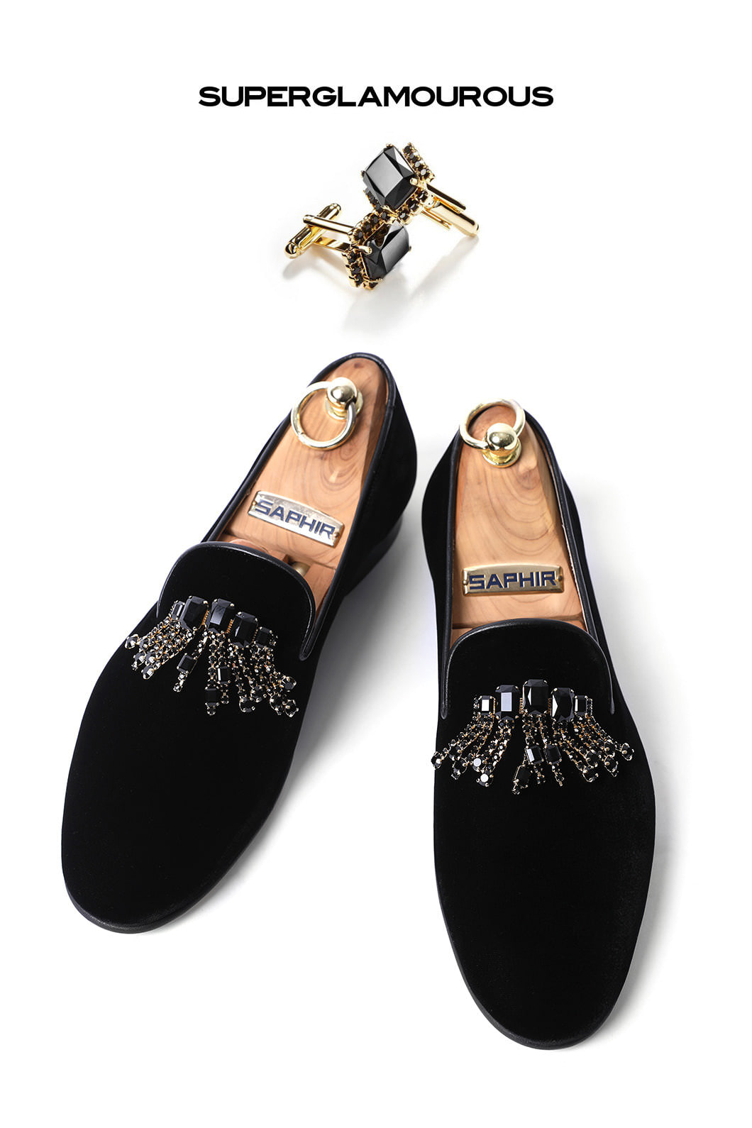 SUPERGLAM CRYSTAL BROOCH VELOUR SLIPPERS/BLACKMADE IN ITALY