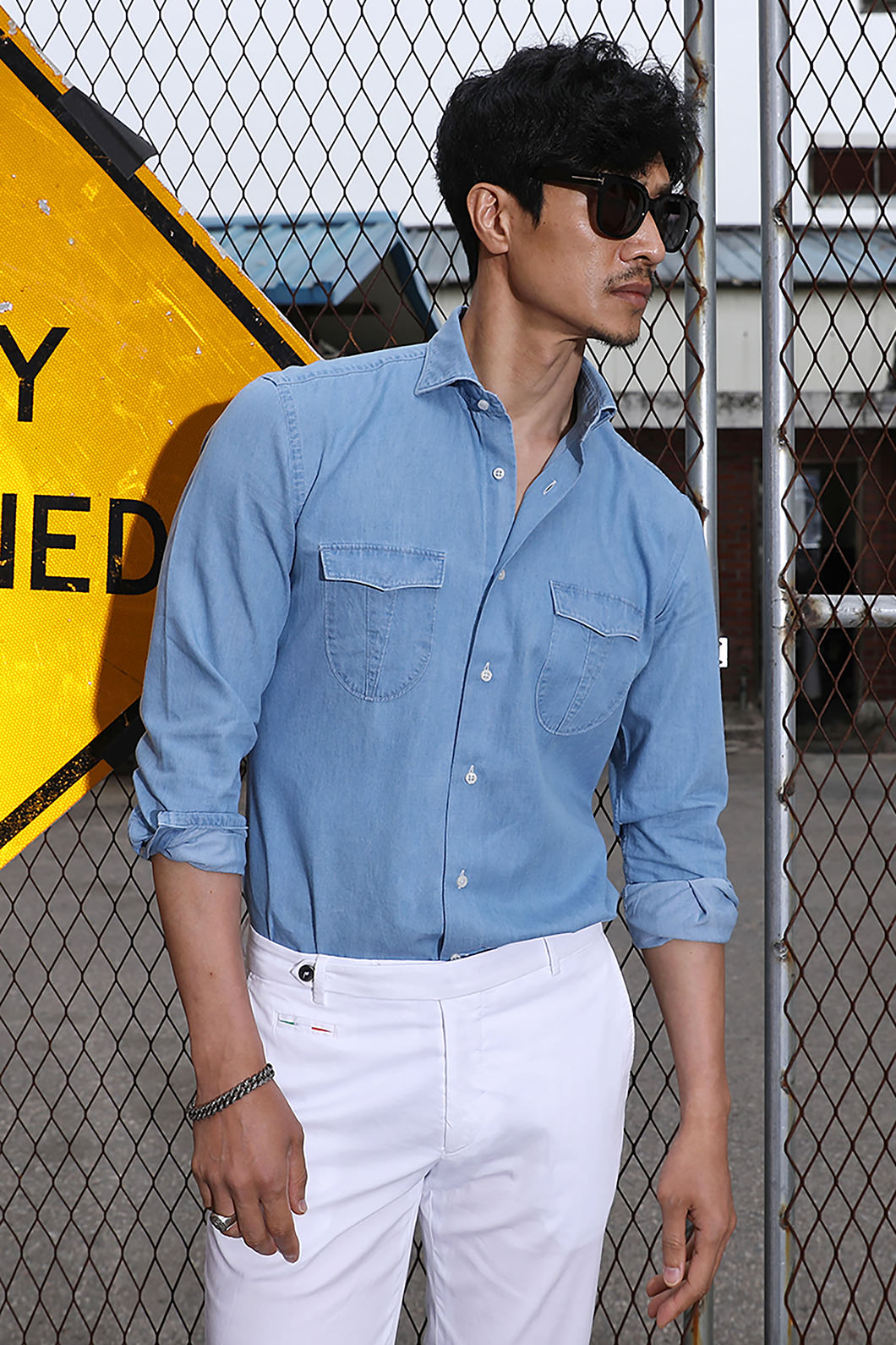TAKE482 ITALIA A&C WASHED DENIM POCKET SHIRT-SKY BLUE품절임박!