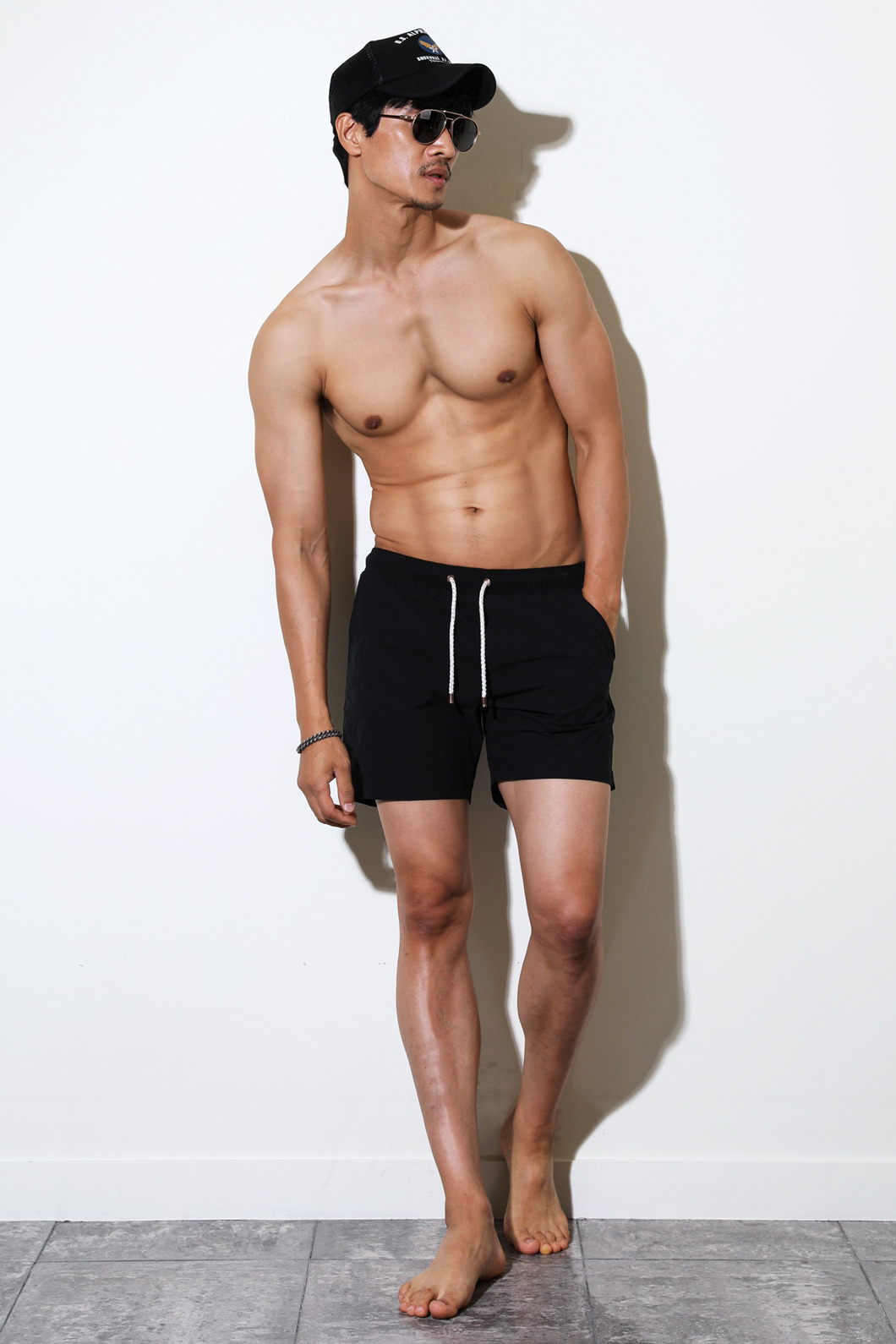 BLACK EDITION SOLID SWIM SHORTS-BLACK