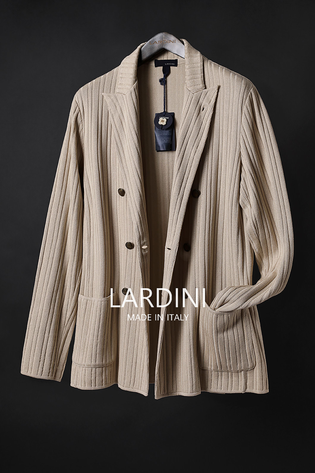 LARDINI DOUBLE BREAST KNIT JACKET-BEIGE[ITALY-Original]품절임박!!