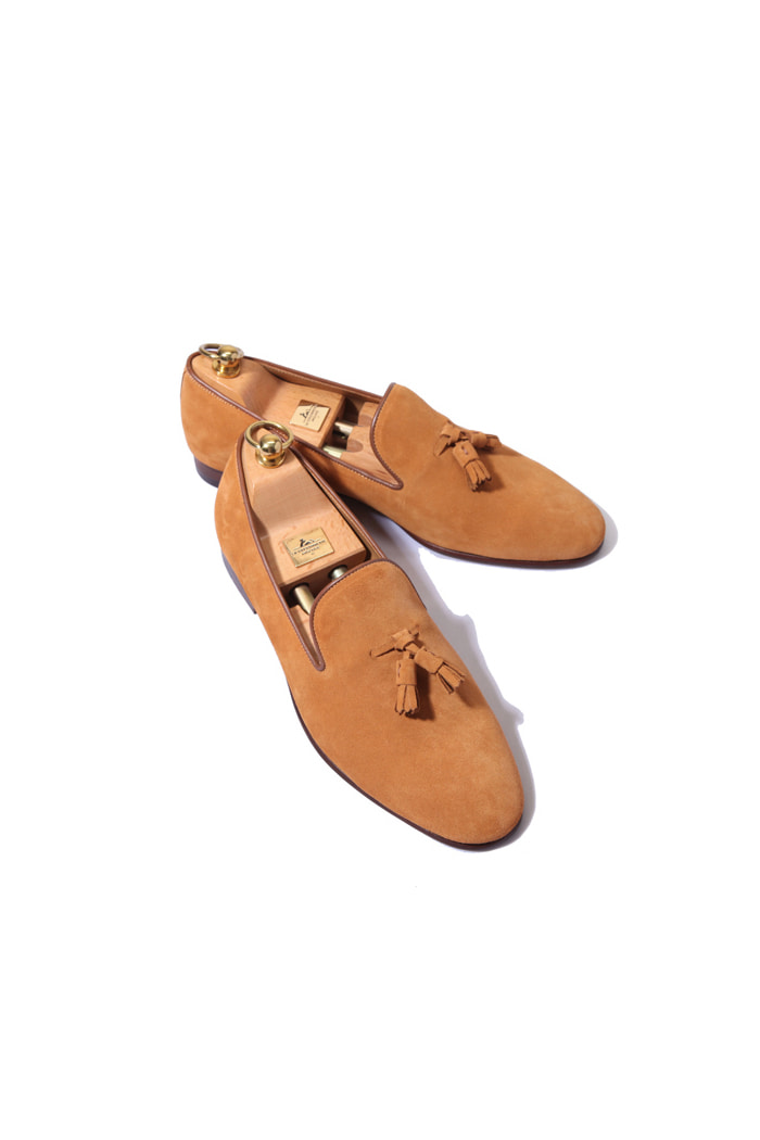 Take361 artisan slipper suede shoes/yellow ocher