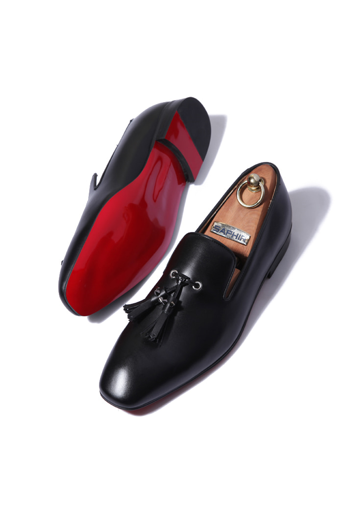 Black nickel tassel loafer/black