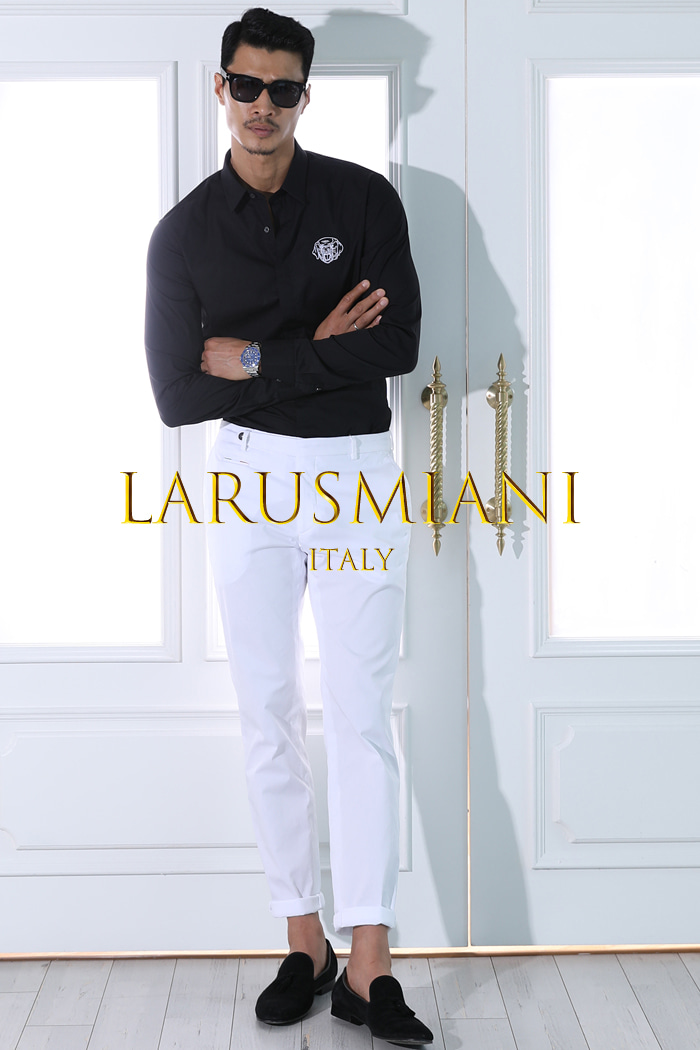 Take429 Larusmiani milano-italy garment dye pants/white