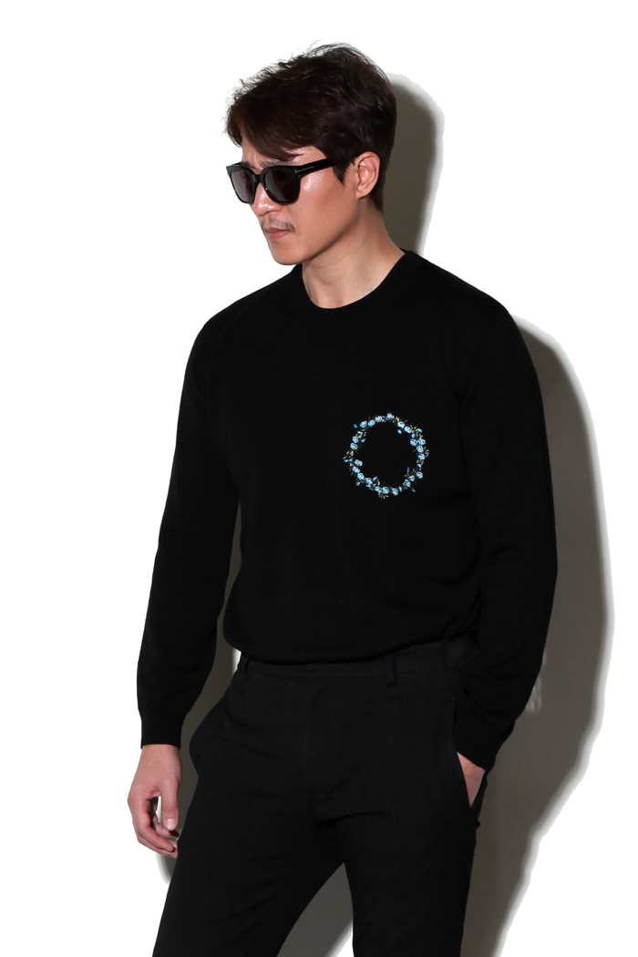Flower crown embroidery round knit/black-스페셜오더