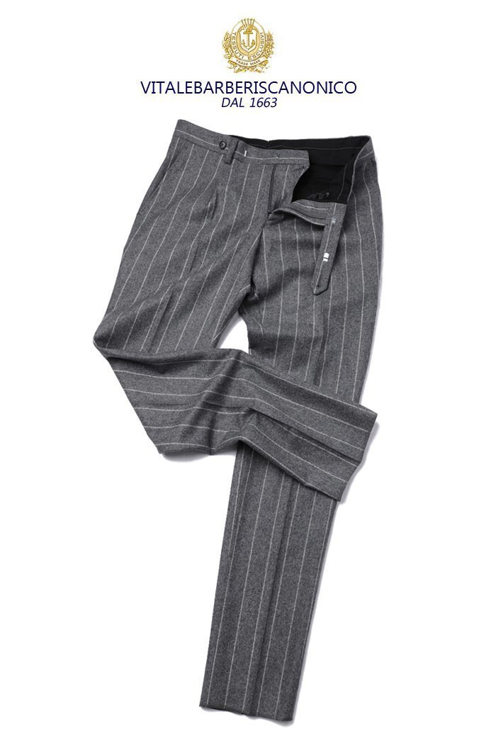 468 ITALY VITALE BARBERIS CANONICO 1663 STRIPE PANTS-GRAY