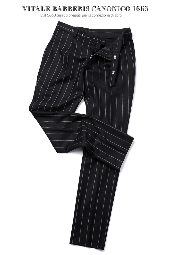 470 ITALY VITALE BARBERIS CANONICO 1663 STRIPE PANTS-BLACK
