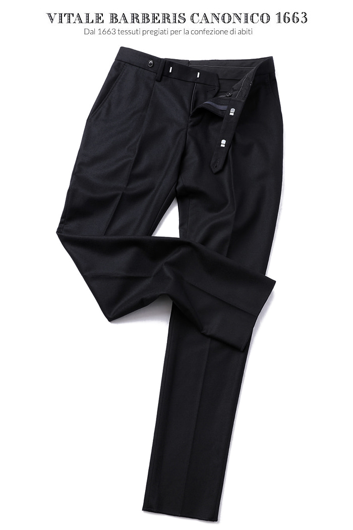473 ITALY VITALE BARBERIS CANONICO 1663 FLANNEL PANTS-BLACK