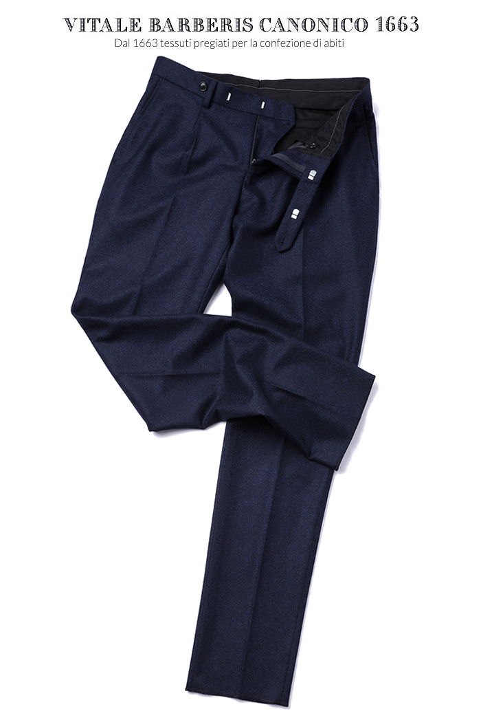 475 ITALY VITALE BARBERIS CANONICO 1663 FLANNEL PANTS-NAVY