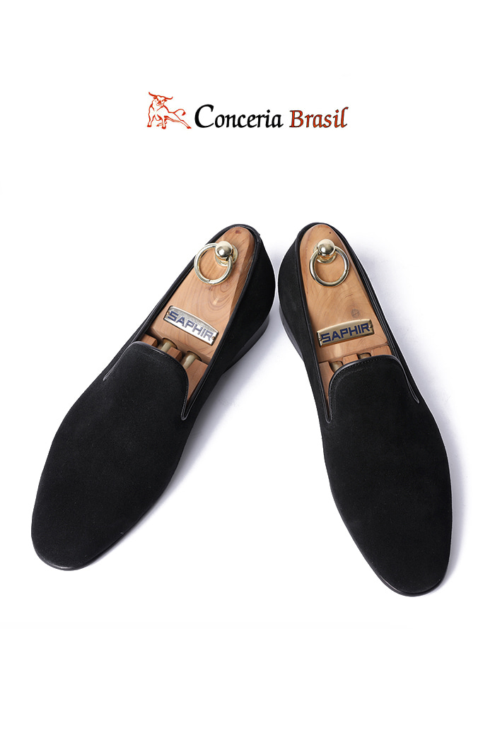 TAKE477 Artisan ITALY Conceria Brasil suede loafer-BLACK