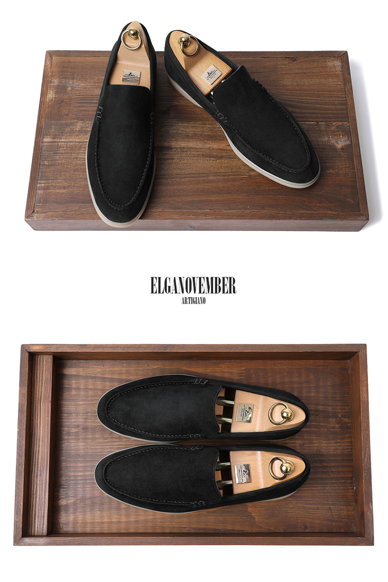 LOWER SUEDE LOAFER-BLACKITALY Leather 265 size 당일 발송!