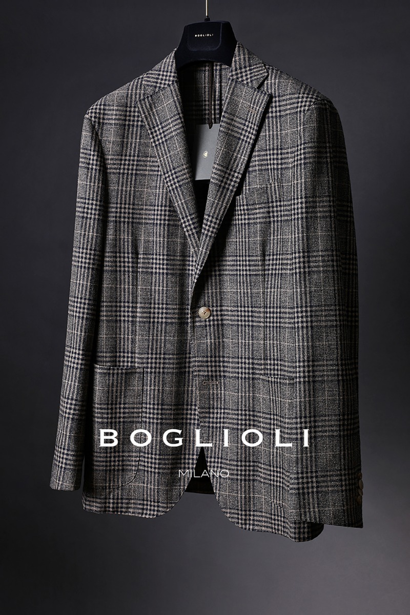BOGLIOLI GLEN CHECK SINGLE JACKET-BROWN[ITALY-Original]