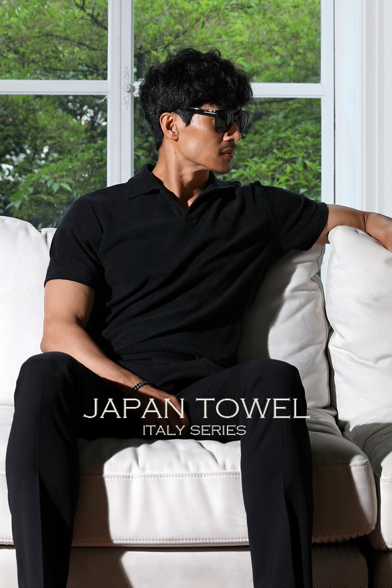 TAKE500 TOWEL FABRIC OPEN COLLAR T-SHIRT-BLACK