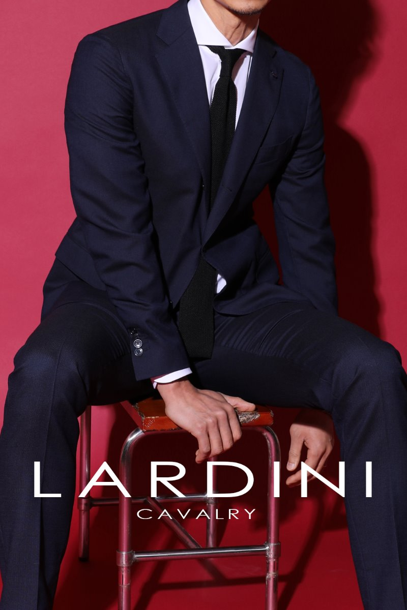 Lardini Cavalry Twill Suit-Navy[ITALY-Original]
