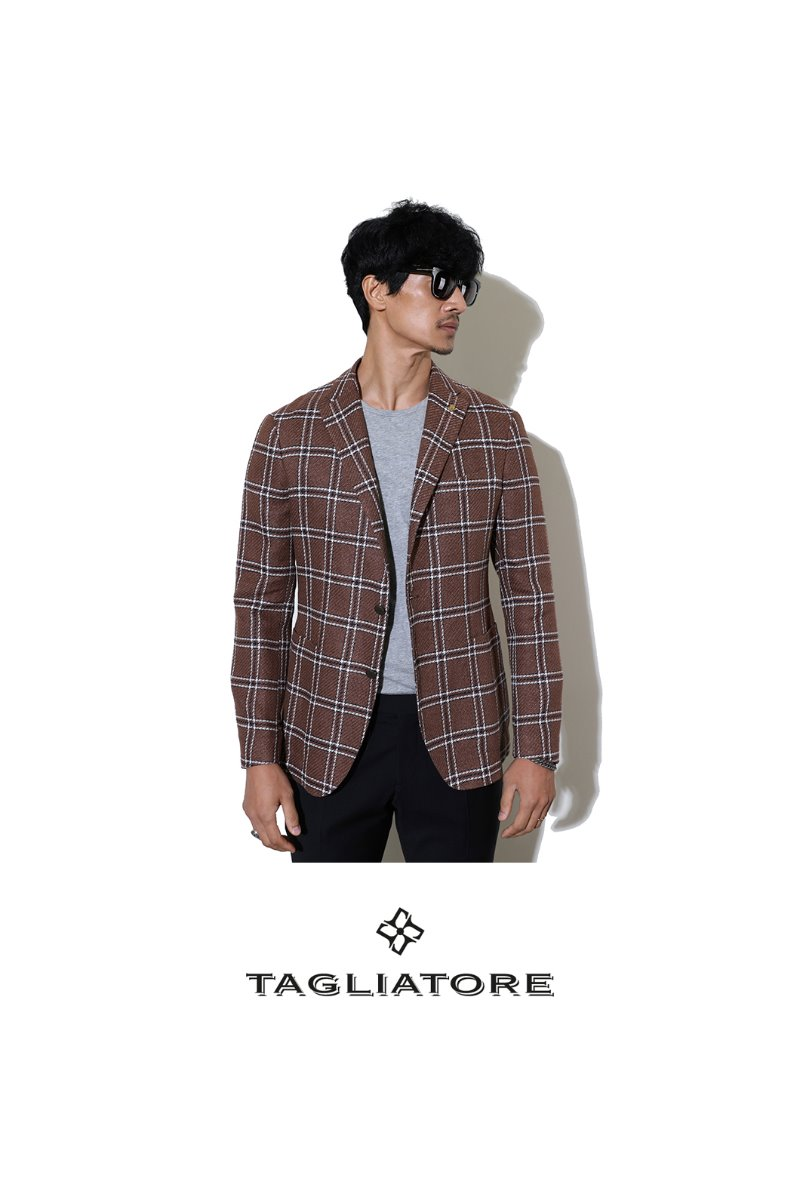 TAGLIATORE CHECK JACKET-BROWN