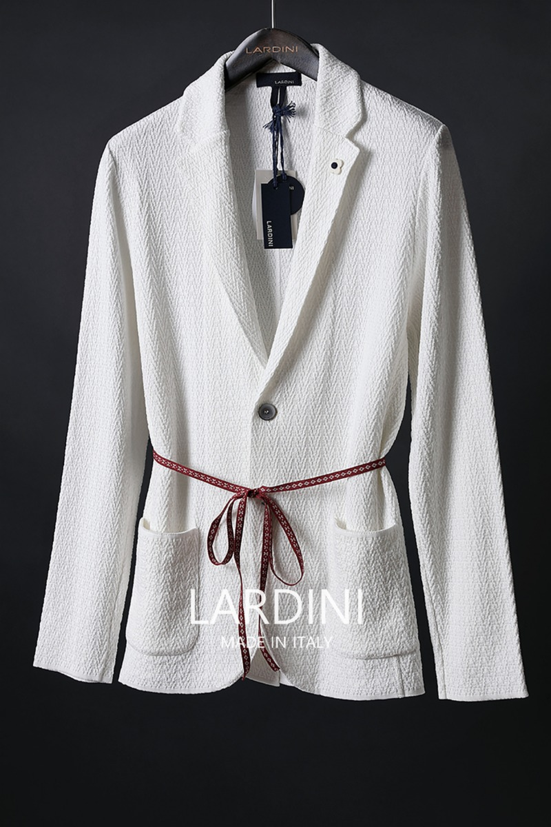 Lardini Single Diamond Knit Jacket-White[ITALY-Original]-극소량 한정!