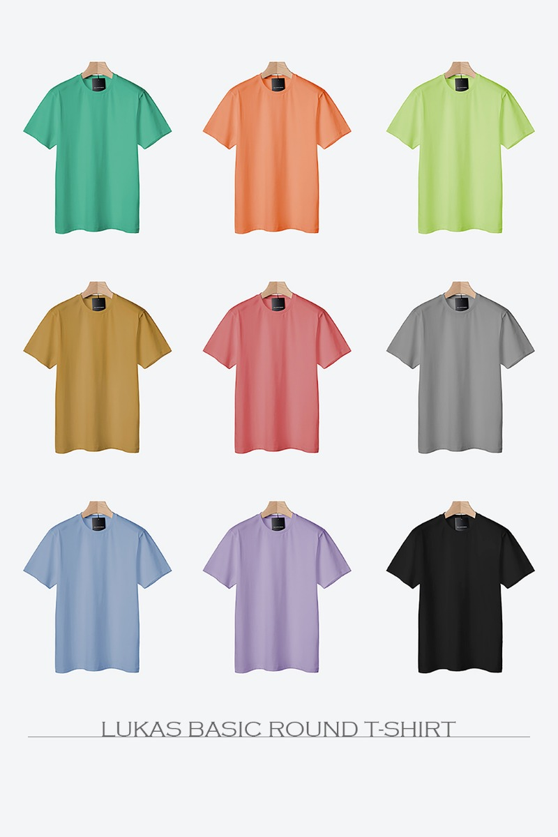 Lukas Basic Round T-Shirt-10color