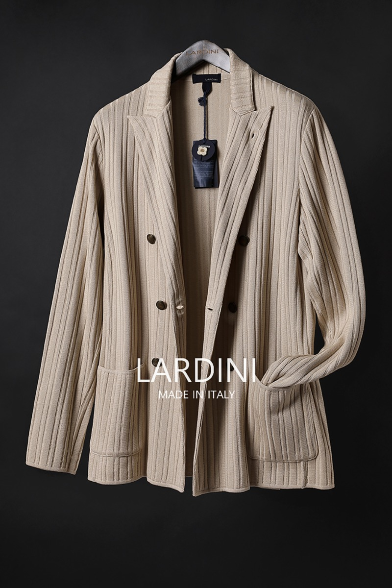 LARDINI DOUBLE BREAST KNIT JACKET-BEIGE
