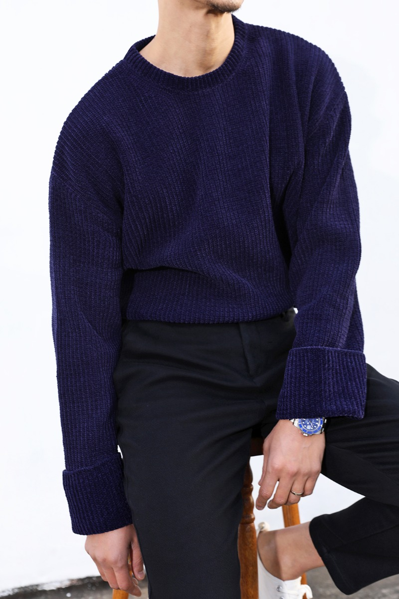 TURN UP VELVET HEAVY SWEATER-4COLOR[Italy yarn]