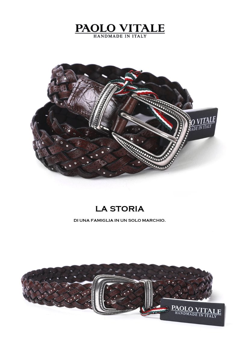 PAOLO Belt-RED BROWNMADE IN ITALY