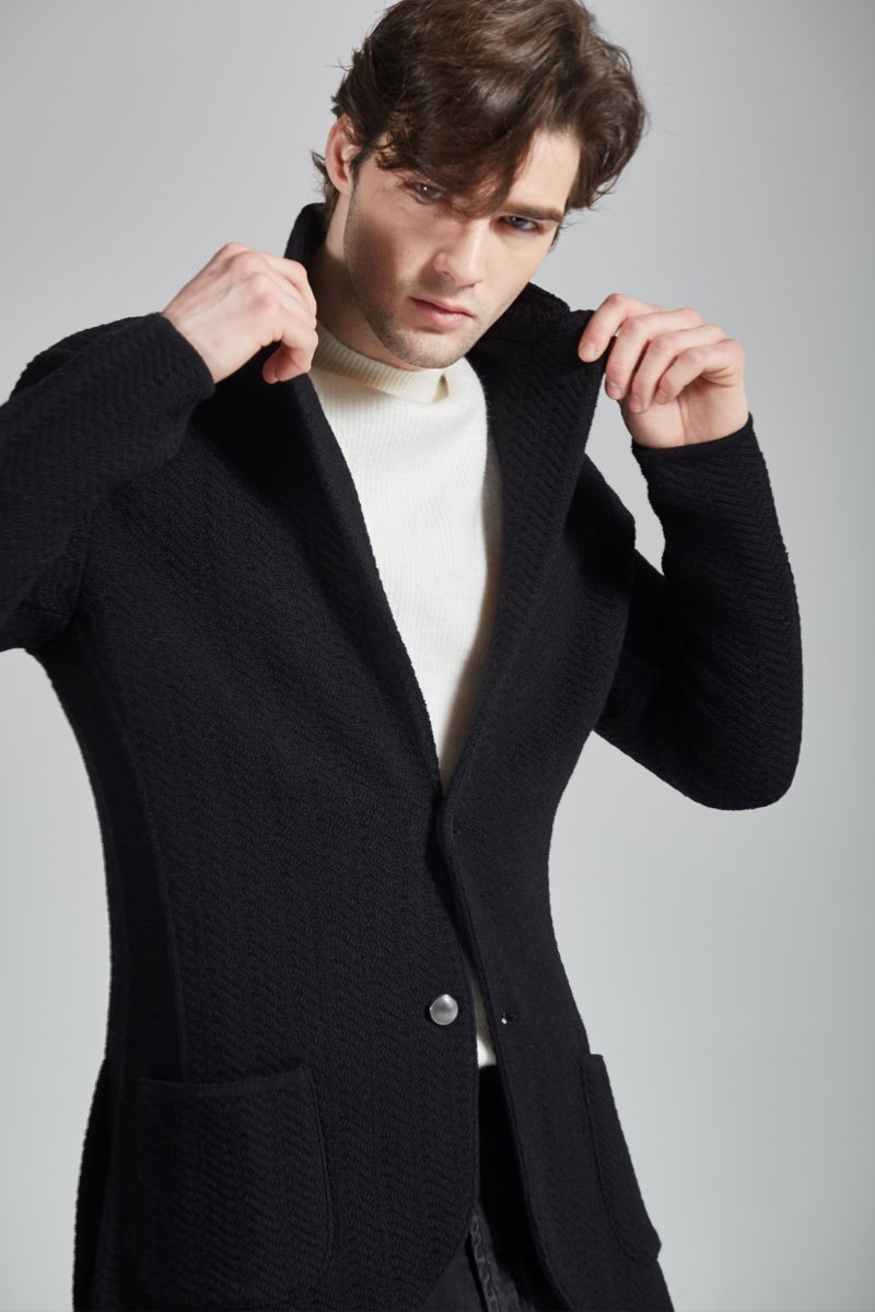 Lardini Silver Single Knit Jacket-Black