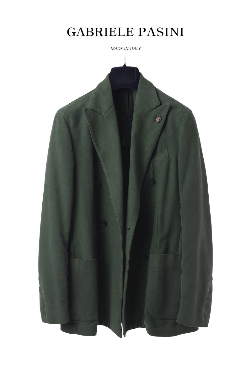 PASINI Double Breasted JACKET/OLIVE GREEN