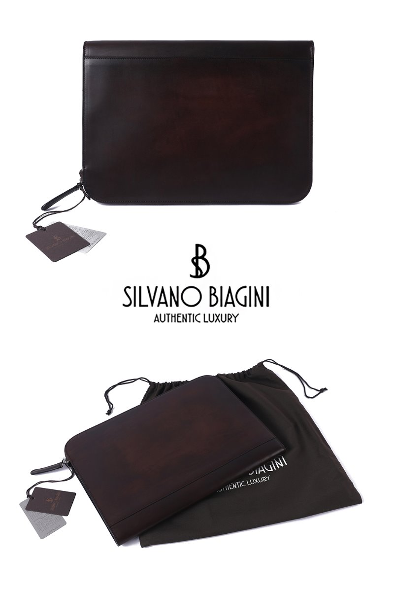 SILVANO BIAGINI PATINA CLUTCH BAG-BROWN