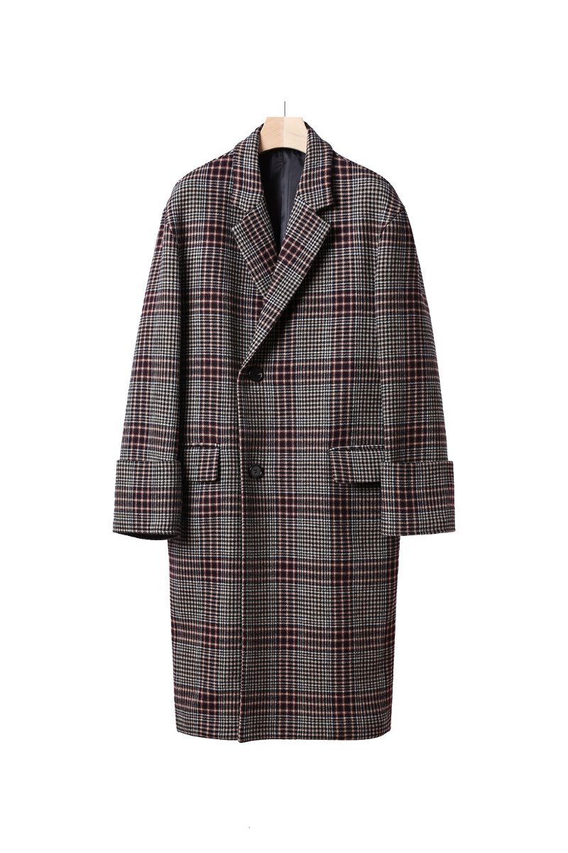 TURN UP CUFFS CHECK OVER COAT-WINE스페셜오더!