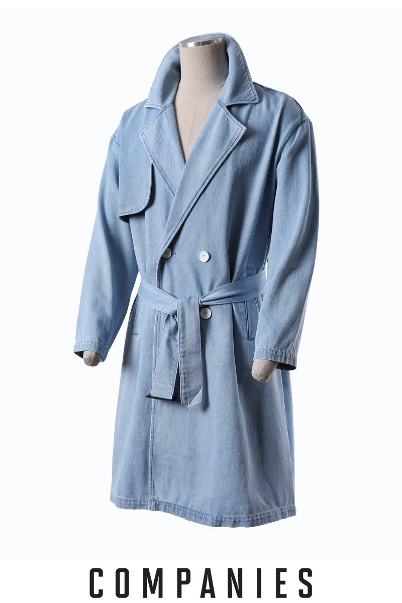 BRADY DENIM TRENCH COAT-BLUE