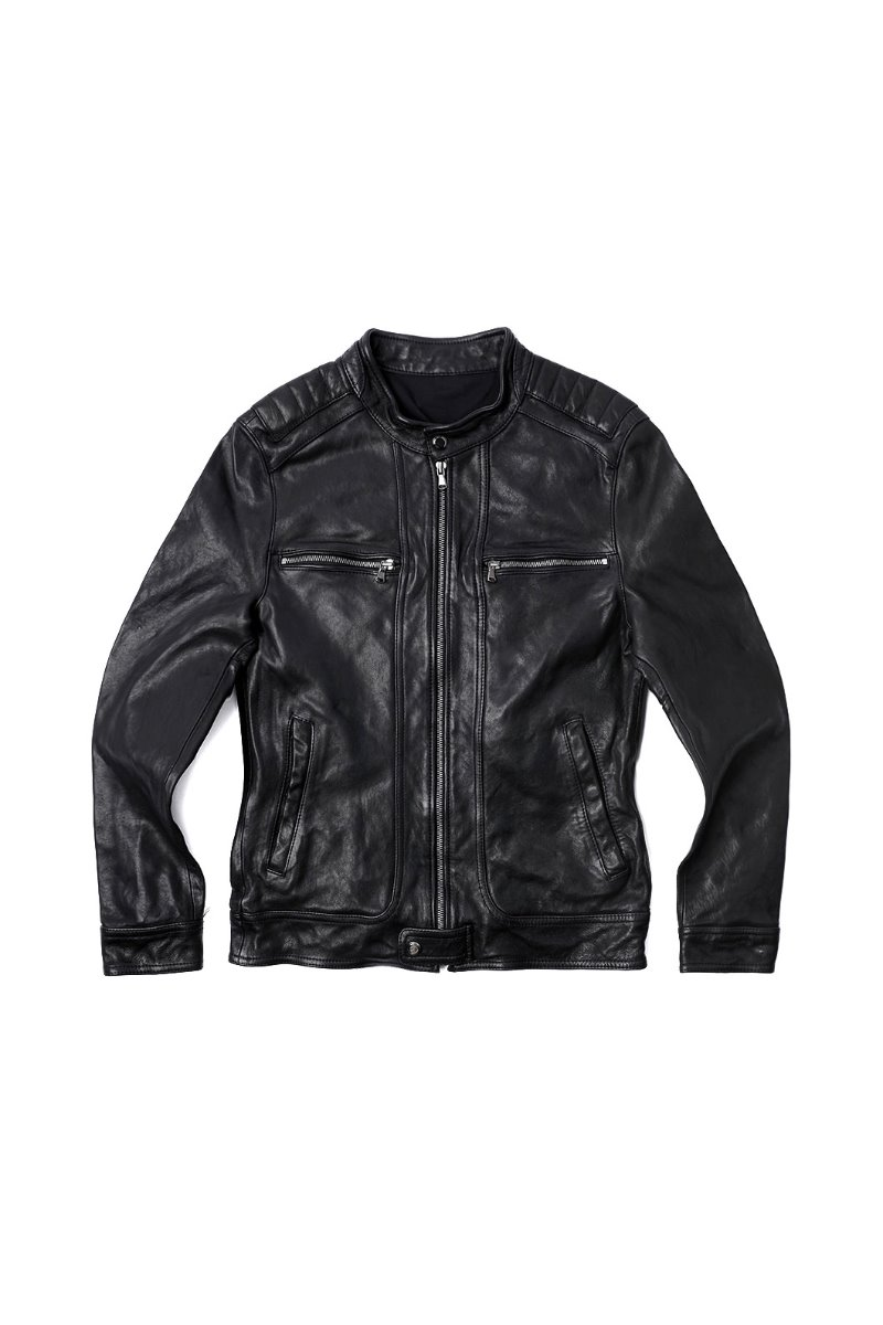 CRITERION ZIPPER LEATHER BLOUSON-BLACK