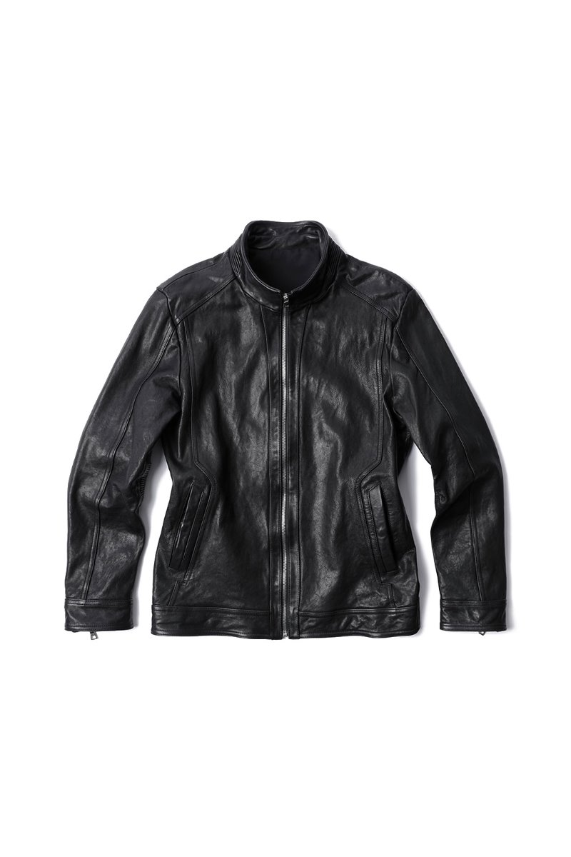 AMBASSADORY CHINA COLLAR LEATHER BLOUSON-BLACK
