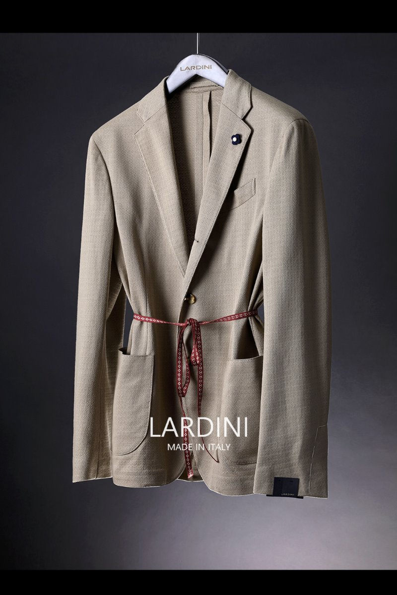 LARDINI FORMAL JERSEY JACKET-BEIGE