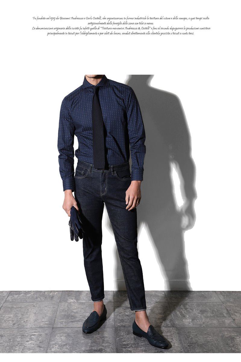 456 Italia A&C Dot shirt-NAVY