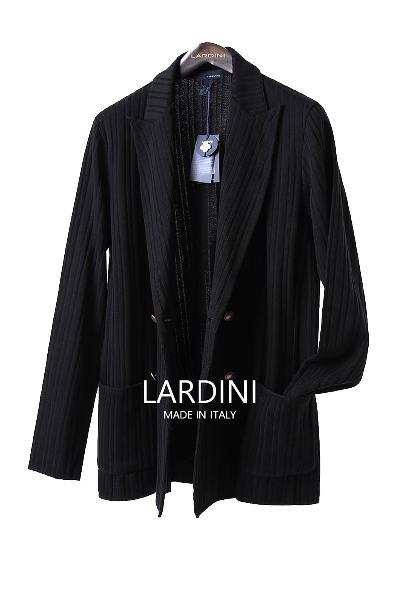 LARDINI DOUBLE BREAST KNIT JACKET-BLACK