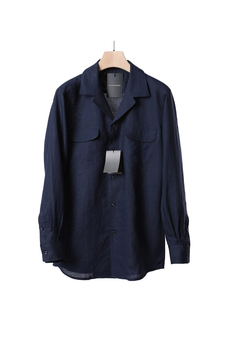 LINEN CUBAN COLLAR SHIRT-NAVY