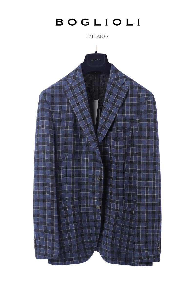 BOGLIOLI BLOCK CHECK JACKET-NAVY