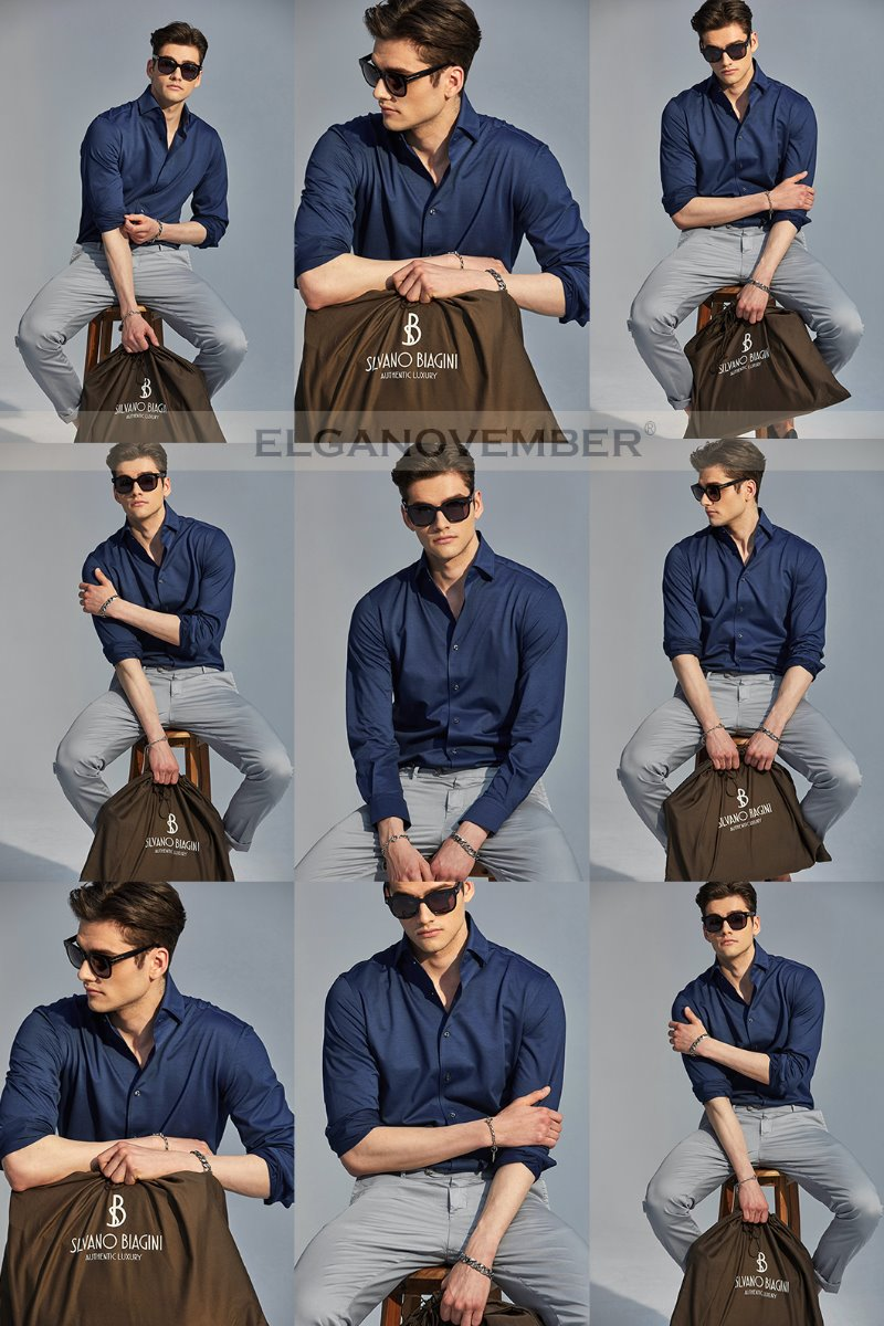529 ITALIA ONE-PIECE COLLAR SHIRT-COBALT BLUE적극추천-품절임박!