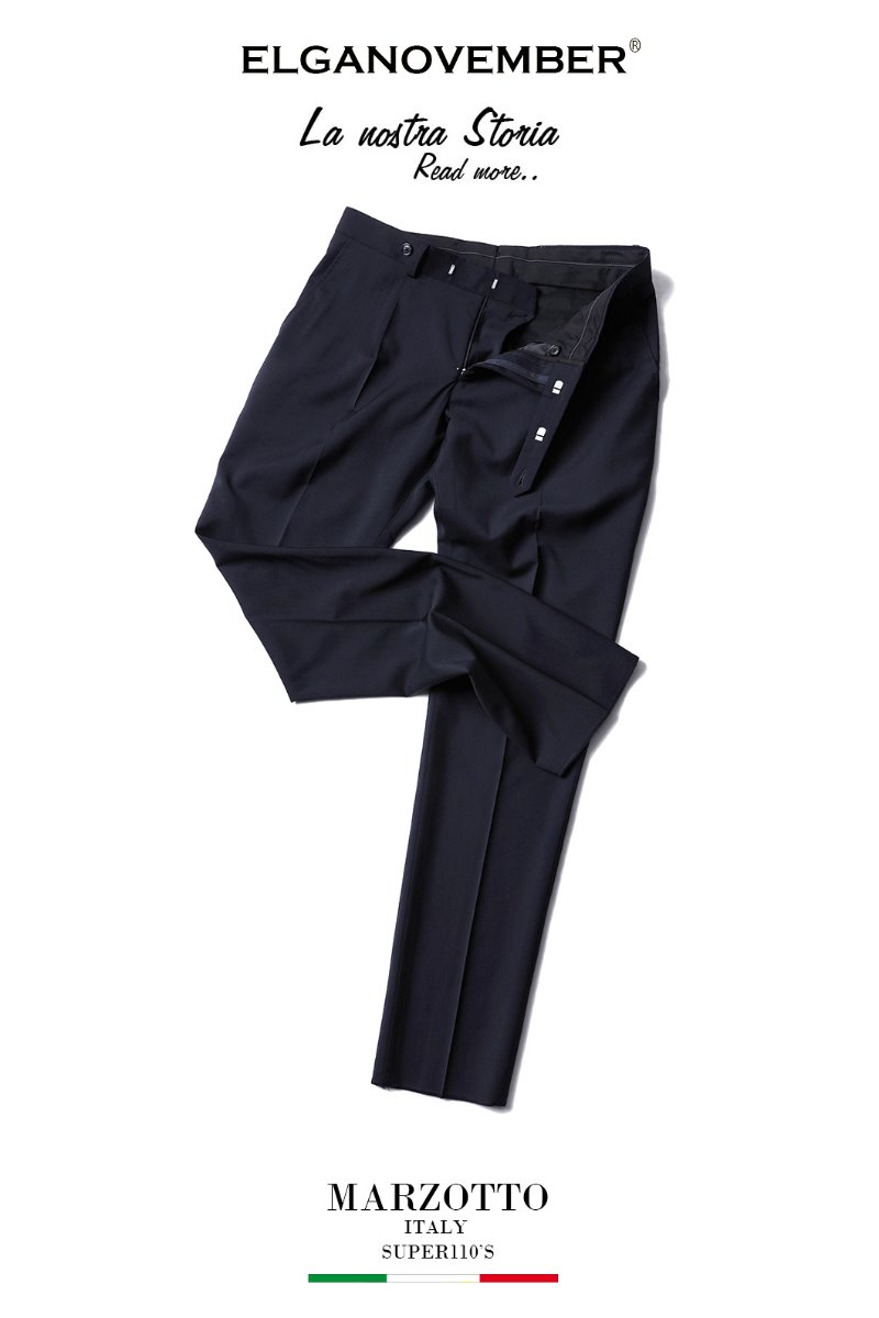 493 ITALY MARZOTTO VOLUME SLACKS PANTS-NAVY