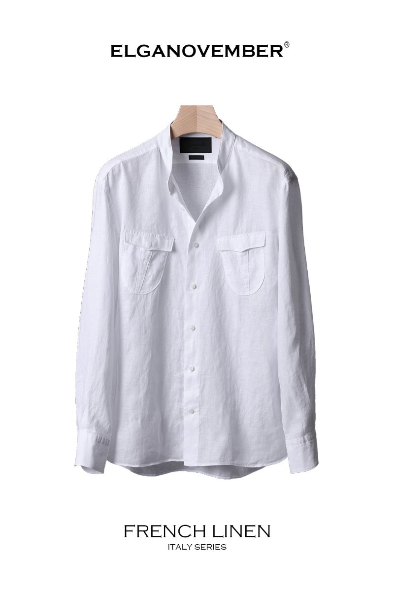 501 FRENCH LINEN POCKET CHINA COLLAR SHIRT-WHITE