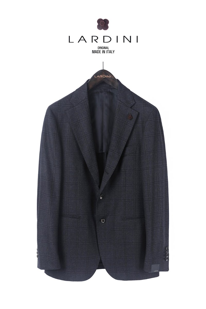 LARDINI GLEN CHECK JACKET-NAVY