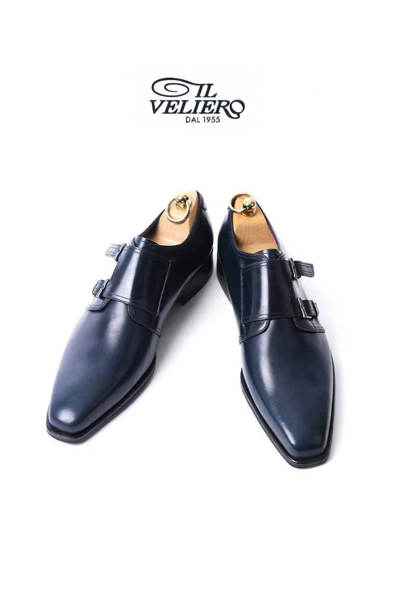478 Artisan ITALY ILVELIERO Double Monk Shoes-NAVYLIMITED PRODUCT