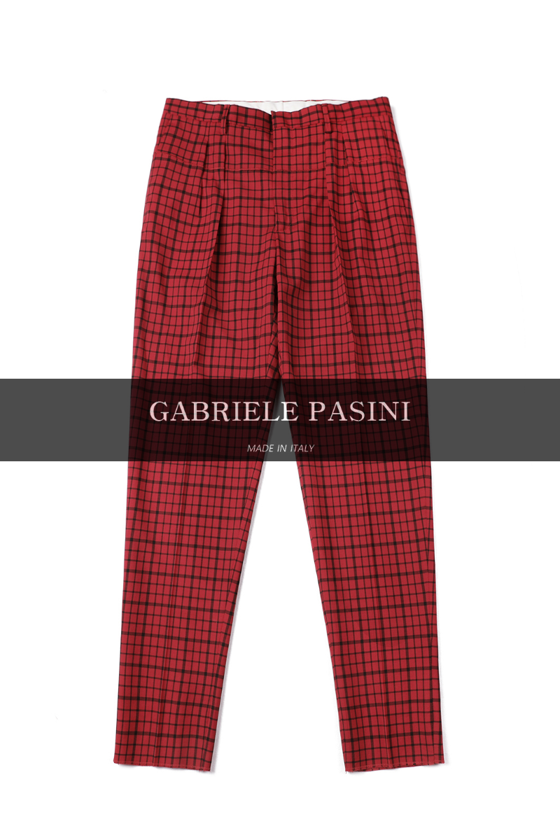 PASINI Palermo Filo Check Pants-Red