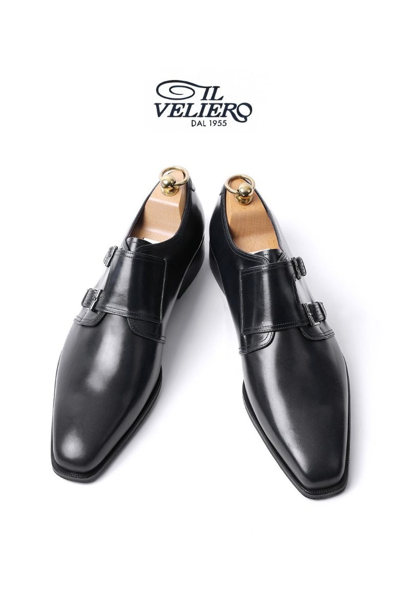 562 Artisan ITALY ILVELIERO Double Monk Shoes-BLACKLIMITED PRODUCT