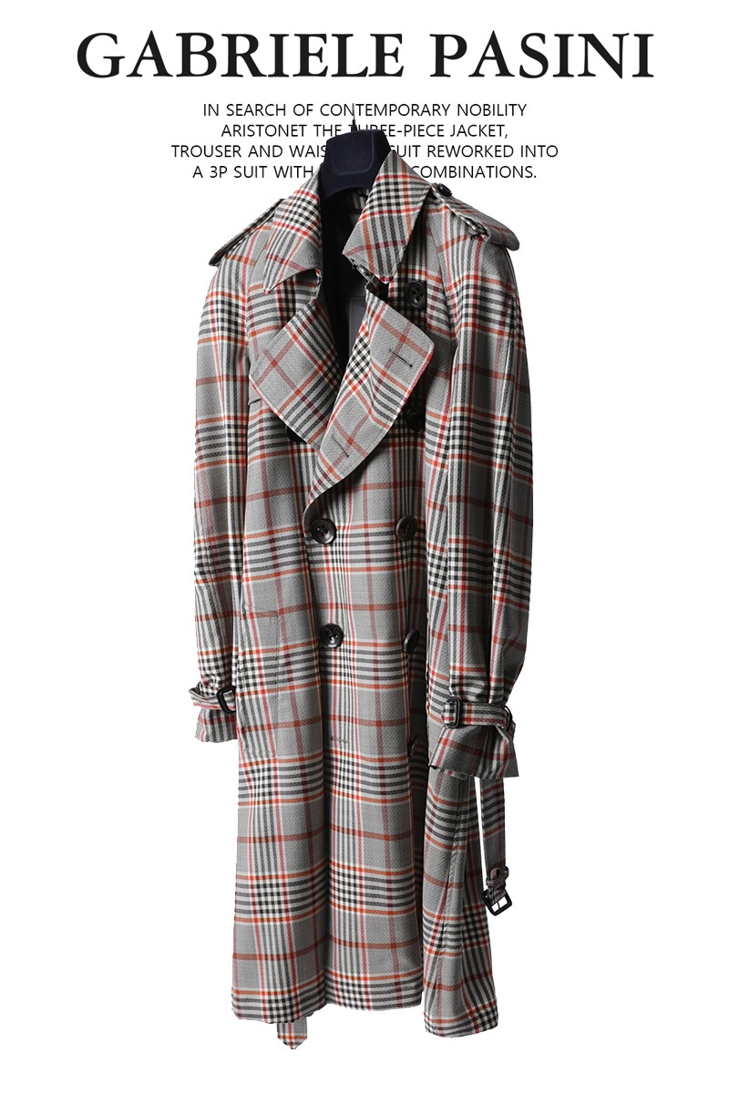 PASINI Redden Check Double Trench Coat