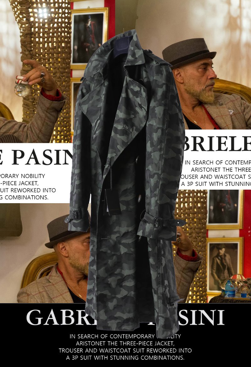 PASINI Camouflage Double Trench Coat